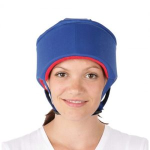 The image of soft skull protector in blue colour