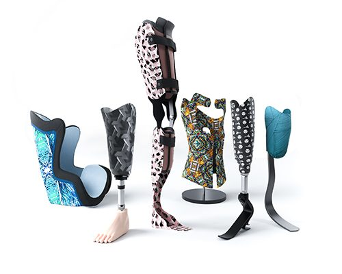 The image shows personalised prosthetic and orthotic devices