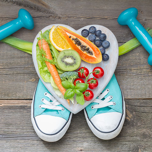 The image shows healthy food and exercise