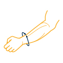 The image shows an illustration of a wrist