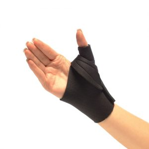 The image shows a patient wearing the Procool Thumb Restriction Splint
